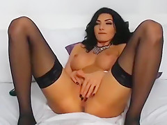 Gorgeous Brunette Our1secret Caresses And Rubs Her Pussy